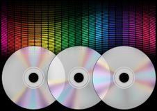 Compact Discs and Equalizer. Abstract Background - Compact Discs and Multicolor Equalizer on Black Background / Vector stock illustration