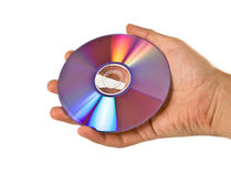 Compact discs in hand Stock Photo