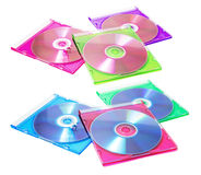 Compact-discs in Plastic Gevallen stock afbeeldingen