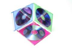 Compact-discs in Plastic Gevallen Stock Foto's