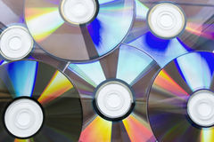 Compact discs. Six compact discs on background Stock Image