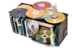 Compact discs in the storage container. Royalty Free Stock Images