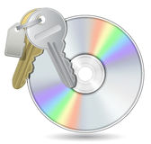 Compact Disk with Bunch of keys stock illustration
