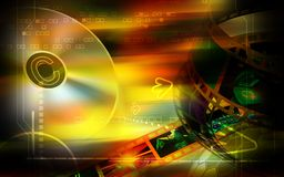 Compact disk and film. Digital illustration of Royalty Free Stock Images
