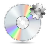 Compact Disk with Gear Stock Photo
