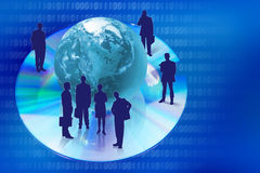 Compact disk with globe and people silhouettes Royalty Free Stock Photos