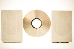 Compact Disk, Speakers color processed sepia Royalty Free Stock Photography