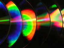 Compact disks. Colorful row of compact disks stock images