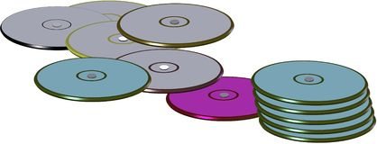 Compact disks in 3d. Variety of compact disks in colors as well as stacked in 3d on white Stock Images