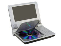 Compact dvd player with disc. Small-sized portable personal DVD Player with an open cover. DVD disk is inserted. Mass production. Isolated on white royalty free stock photo