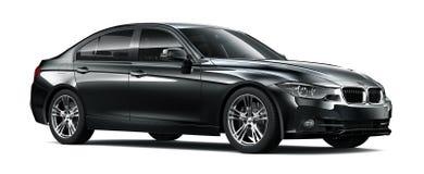 Compact executive black car Stock Photos