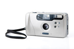Compact film camera. Compact 35 mm film camera over white background Stock Photography