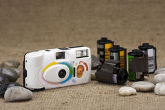 Compact film camera and film cartridge Stock Photography