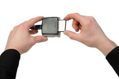Compact Flash Card insertion Royalty Free Stock Image