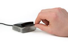 Compact Flash Card Reader, isolated on white Royalty Free Stock Photos