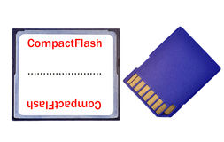 Compact Flash vs SD Card. A Compact Flash and a SD Card side by side, isolated in white Stock Photography
