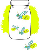 Compact florescent firefly in a jar. Fireflies in a jar, but they have florescent bulbs glowing behind them. 3 of 4 in a firefly series. Everything is in layers Stock Images