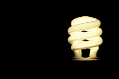 Compact flourescent light bulb with copy space. On black background Royalty Free Stock Photography