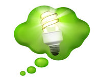 Compact Fluorescent Bulb in a Thought Bubble. A bright idea! Energy-saving compact fluorescent bulb shining in a green thought bubble stock images