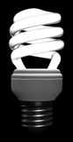 Compact fluorescent lamp. A lighted helical compact fluorescent lamp on black background. Computer generated image with clipping path Royalty Free Stock Photography