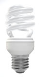 Compact fluorescent lamp. A helical-type compact fluorescent lamp isolated on white background. Computer generated image with clipping path Stock Photos