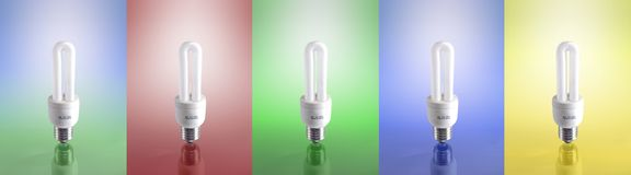Compact Fluorescent Lamp (5 Different Versions) Royalty Free Stock Photo