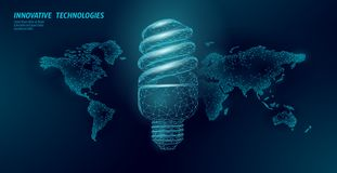 Compact fluorescent lamp energy saving concept. Polygonal low poly world planet globe map. Eco save ecology environment. Green energy power concept banner royalty free illustration