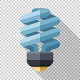 Compact fluorescent lamp icon in a flat style on a transparent background. Compact fluorescent lamp icon in a flat style with a long shadow on a transparent royalty free illustration