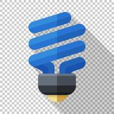 Compact fluorescent lamp icon in flat style on transparent background. Compact fluorescent lamp icon in flat style with long shadow on transparent background vector illustration