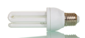 Compact fluorescent lamp isolated on white. Royalty Free Stock Photos