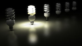 Compact fluorescent lamps in a row. One is lamp is enlightening. Idea Concept Stock Photos