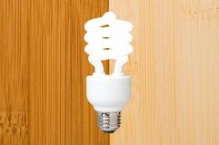 Compact fluorescent light bulb. A compact fluorescent light bulb against a bamboo flooring background Stock Images