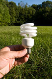 Compact fluorescent light bulb. A hand holding a compact fluorescent light bulb in a grass field Stock Photo