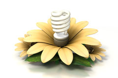Compact fluorescent light bulb insde yellow flower Stock Photos