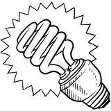 Compact fluorescent light bulb sketch Royalty Free Stock Photos