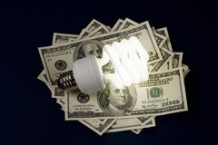 Compact Fluorescent Lightbulb and dollar royalty free stock image
