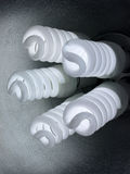 Compact Fluorescents 5 spiral bulbs close up Stock Photos