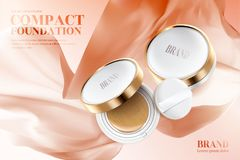 Compact foundation ads. Golden frame compact with puff isolated on peach color flying chiffon in 3d illustration Royalty Free Stock Images