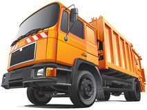 Compact garbage truck. Detail vector image of orange garbage truck - rear loader, isolated on white background. File contains gradients and transparency. No Stock Photo