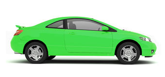 Compact green car side view Royalty Free Stock Photography