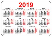 2019 compact grid pocket calendar first day Monday. Vector illustration stock illustration