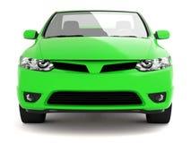 Compact groen auto vooraanzicht Stock Afbeeldingen