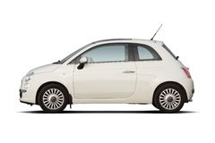 Compact hatchback. White retro style compact hatchback on white Stock Photos