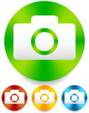 Compact - hobby photo camera icon in green, red, yellow, blue co Royalty Free Stock Images