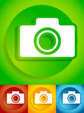 Compact - hobby photo camera icon in green, red, yellow, blue co Stock Photos