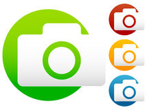 Compact - hobby photo camera icon in green, red, yellow, blue co Stock Images