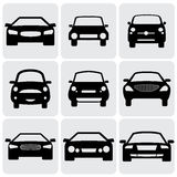 Compact and luxury passenger car  icons(signs) fro. Nt view- vector graphic. This illustration represents nine symbols of cars front side in black color against Royalty Free Stock Images