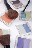 Compact Makeup powder colors. Compact powder eyeshadow in a variety of colors Stock Photos