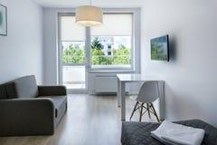 Compact, modern sleeping room. Interior design in scandinavian style Stock Photo