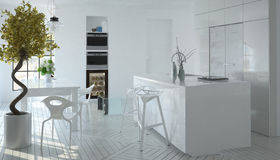 Compact modern white kitchen interior Stock Image